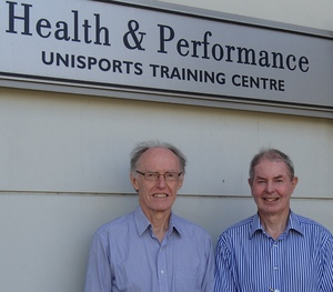 Jim Stinear (left) and Greg Anson in front of the Health and Performance Clinic gym at the University of Auckland's Tamaki Campus.