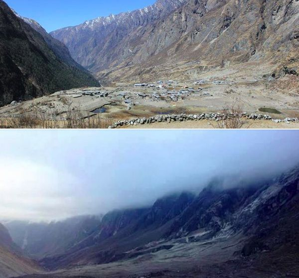 Langtang before (top) and after the earthquake.