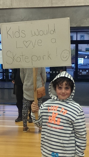 A keen skateboarder at the community board meeting.