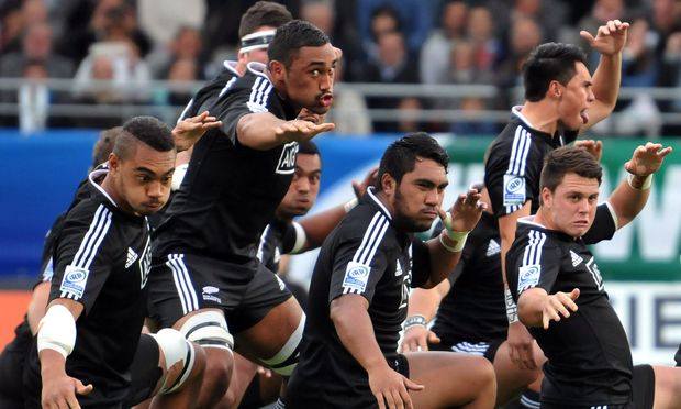 The New Zealand under 20's rugby team performing the haka.