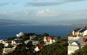 The view towards the Hutt Valley from the Wellington suburb of Roseneath.