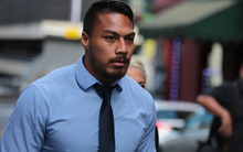 George Moala walking out of the Auckland District Court after his sentencing