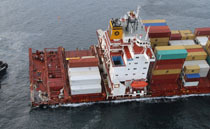 Almost all containers have been removed from the stern of the Rena.