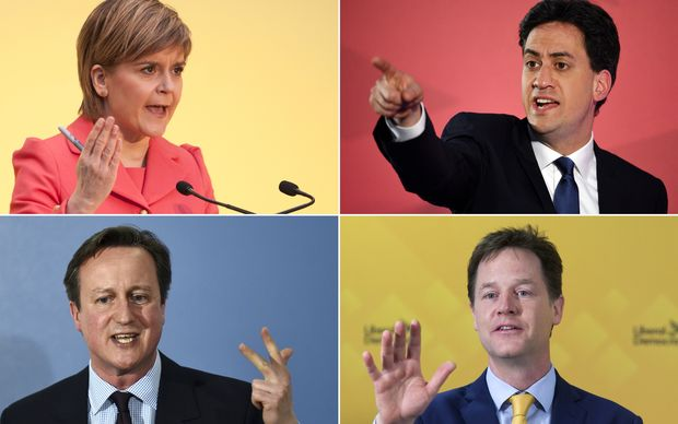 British political leaders, clockwise from top right, Nicola Sturgeon (Scottish National), Ed Miliband (Labour), David Cameron (Conservatives) and Nick Clegg (Liberal Democrats).