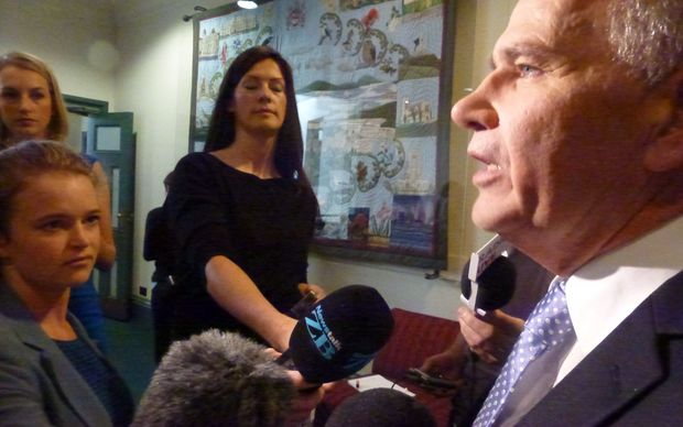 Mayor of Auckland Len Brown facing media after the council supported his transport levy proposal