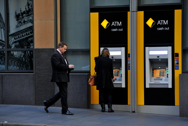 Commonwealth Bank (CBA) signage and ATM, Sydney, 2014.