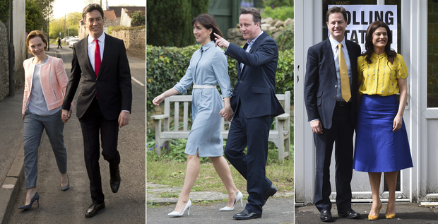 From left, Labour Party leader Ed Miliband and wife Justine Thornton,  Conservative Party leader David Cameron and wife Samantha and leader of the Liberal Democrats Nick Clegg and wife Miriam Gonzalez Durantez voting on 7 May.