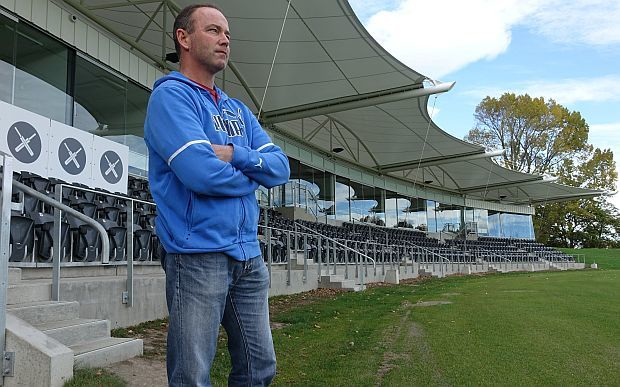 Canterbury Cricket CEO, Lee Germon, surveys the country's newest cricket ground, Hagley Oval