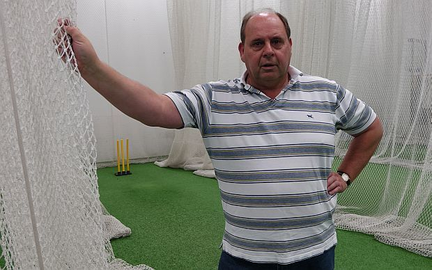 Ross Hick proudly shows off the club's new indoor acility