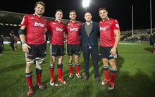 Departing Crusaders (from L) Richie McCaw, Colin Slade, Tom Taylor, Willie Heinz and Dan Carter