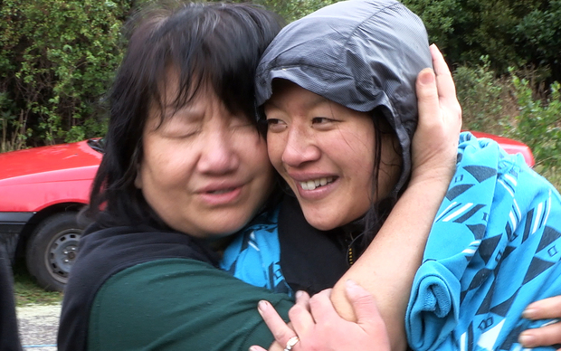 Susan O'Brien and mother Maggie Khoo embracing