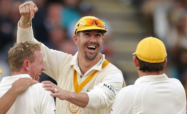 Kevin Pietersen celebrating with his team-mates during the 200th anniversary match between MCC and the Rest of the World at Lord's.