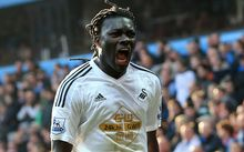Bafetimbi Gomis of Swansea City celebrates after scoring the winning goal.