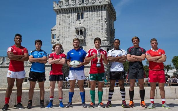 The captains of all eight teams competing in the World Rugby Junior Trophy in Portugal, including Fiji and Tonga.