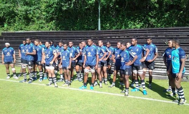 The Fiji Under 20s training in Lisbon at the World Rugby Junior Trophy.