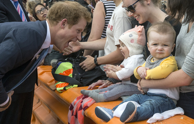 Prince Harry meets fans during a walkabout in Christchurch.