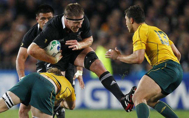 Brad Thorn on the charge for the All Blacks during the 2011 World Cup.