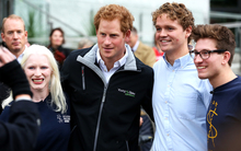 SVA president Sam Johnson (second from right), and members Lucy McLeod and Alex Cheesebrough with Prince Harry.