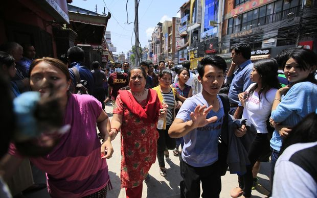 People fled into the streets after a magnitude 7.3 earthquake has hit Nepal as the country recovers from last month's devastating earthquake.