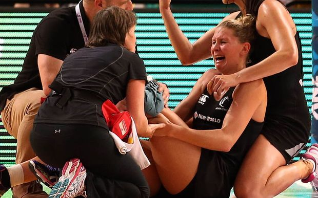 The Silver Ferns Casey Kopua goes down injured.