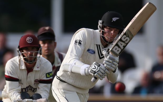 Mitchell Santner batting during the four day game between Somerset and a New Zealand XI.