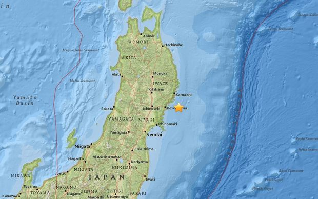 A map shows the location of the earthquake off Japan's Honshu.