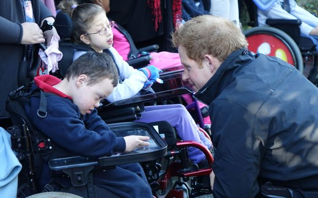 Prince Harry meets students from Ferndale Special Education School.