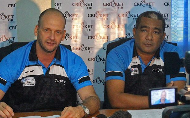 Cricket Fiji national head coach Shane Jurgensen and CEO Inoke Lesuma.