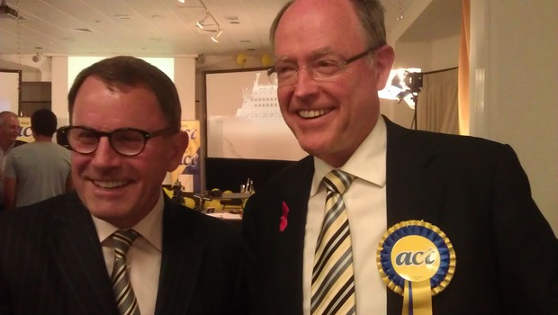 Epsom MP John Banks, left, and Don Brash on election night.