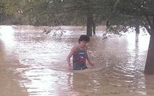 A young man in flood waters on the Kapiti Coast.