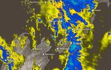 MetService's rain radar shows the weather sweeping across Wellington at 10pm on Thursday.