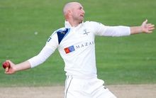 Adam Lyth delivers the ball for Yorkshire, 2014