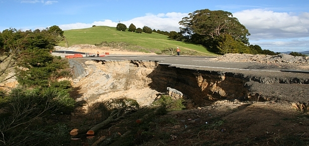 The big slip that closed State Highway one north of Whangarei last July