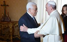 Pope Francis welcomes Mahmoud Abbas during a private audience at the Vatican.