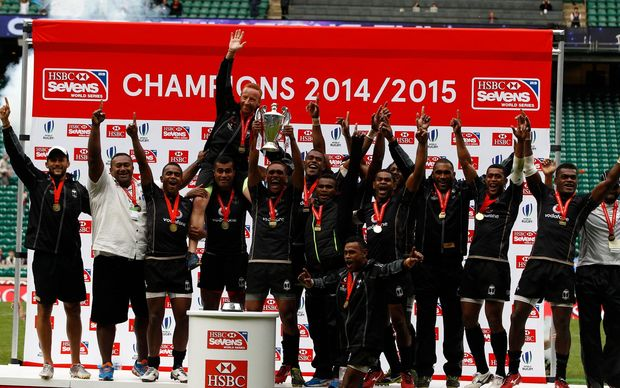 Fiji lift the Sevens World Series title in London.