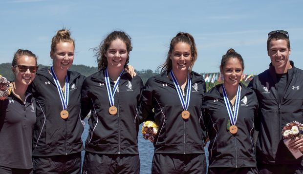 Medal-winners from the final day of the world cup kayaking regatta in Portugal (L-R). Lisa Carrington, Caitlin Ryan, Aimee Fisher, Kayla Imrie, Jaimee Lovett and Marty McDowell.