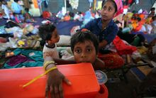 Rohingya Muslim children at a ​​temporary shelter in Langsa, Aceh, Indonesia.