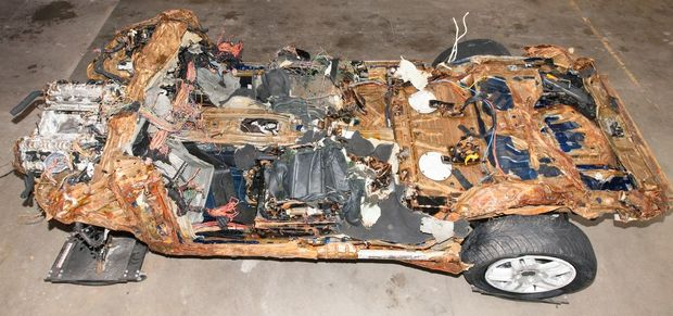 The car that was recovered from Blue Cod Bay, near Curio Bay.