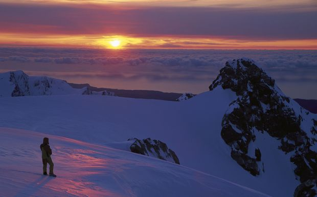 Sunrise from Franz Josef Glacier.