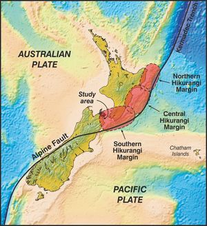 A diagram showing the Hikurangi Margin.