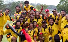 The PNG Barramundi's celebrate another win.