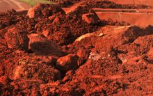 Bauxite at a factory in Guinea.