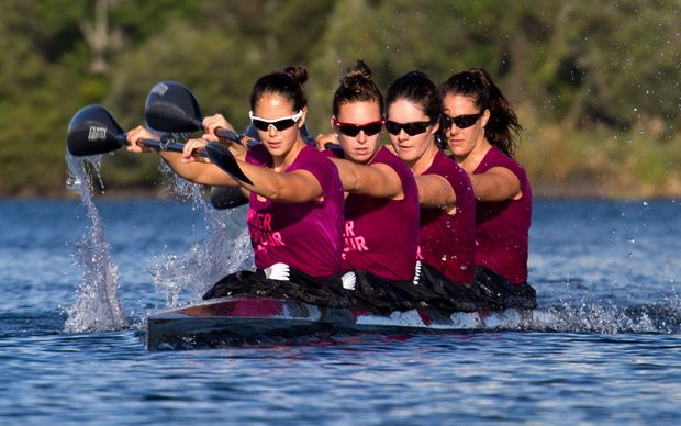 New Zealand women's K4 Jaimee Lovett (front) and crewmates (from left) Caitlin Ryan, Aimee Fisher and Kayla Imrie.