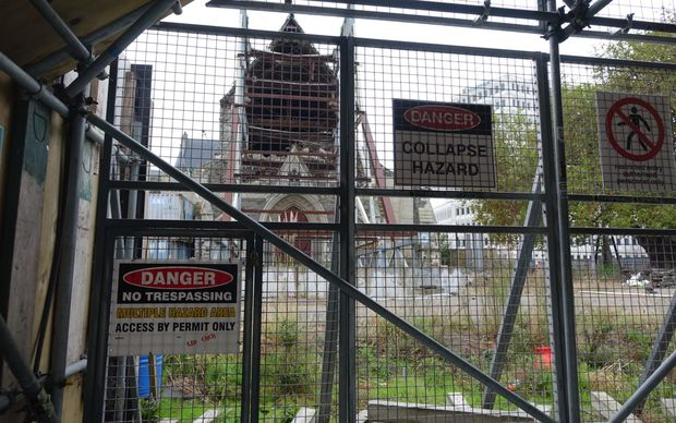 Christ Church Cathedral remains fenced off and its future is still uncertain more than four years on from the February 2011 earthquake.(photo May 2015)