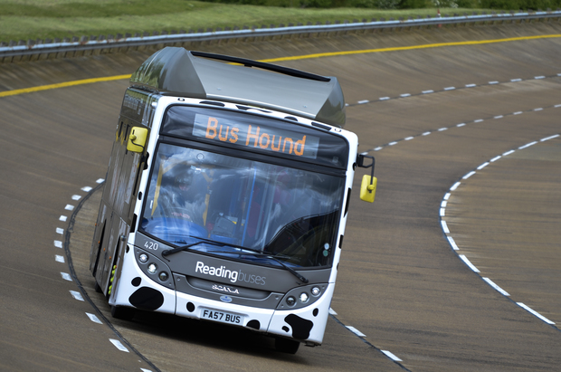 The Bus Hound zips around the track at the world famous Millbrook Proving Ground in Bedford.