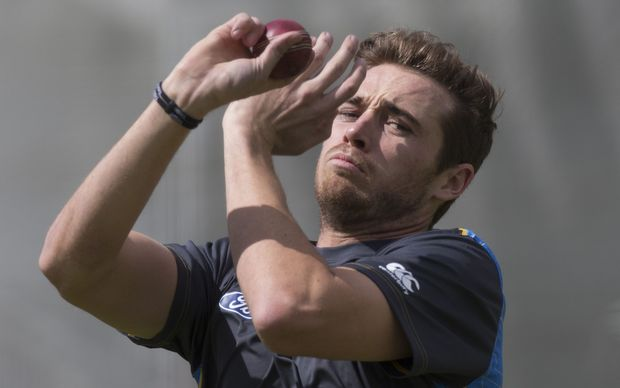Black Caps bowler Tim Southee practices with the standard red ball at Lord's - later this year he may have to get used to a pink ball.