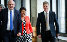 Steven Joyce (left), Paula Bennett and Bill English arriving at the 2015 Budget lock-up at Banquet Hall, Parliament.