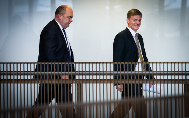 This budget will be the seventh for Finance Minister Bill English (right - pictured with Steven Joyce on the way to the lock-up at Parliament's Banquet Hall).