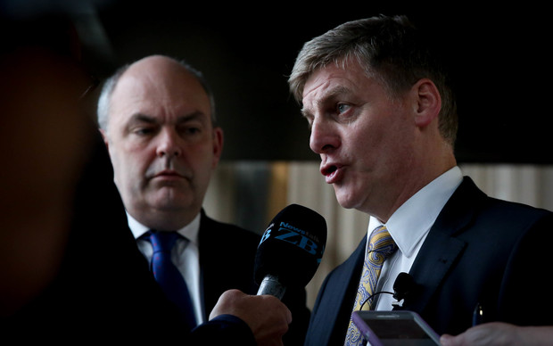 Steven Joyce (left) and Bill English leaving the 2015 Budget lock-up at Banquet Hall, Parliament.