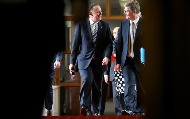 John Key and Bill English doing bridge run before the Budget is announced.
